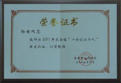 个人书荣誉证